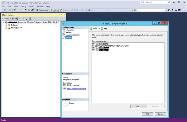 SQL Server Management Studio Analysis Server Properties
