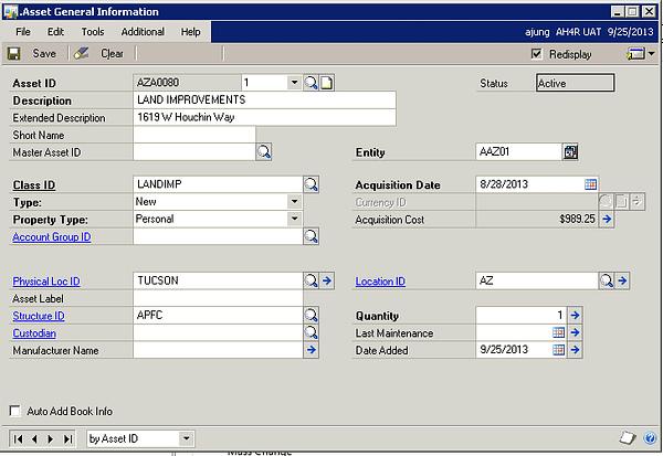 Microsoft Dynamics GP - GL Integrations to Fixed Asset - Asset Book