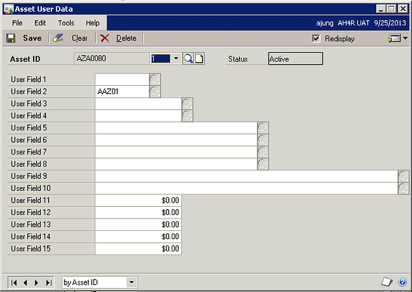 Microsoft Dynamics GP - GL Integrations to Fixed Asset - Asset User Data
