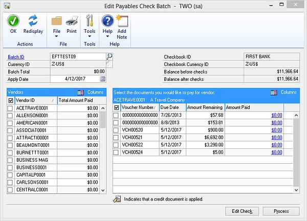 Dynamics GP Edit Payables Check Batch