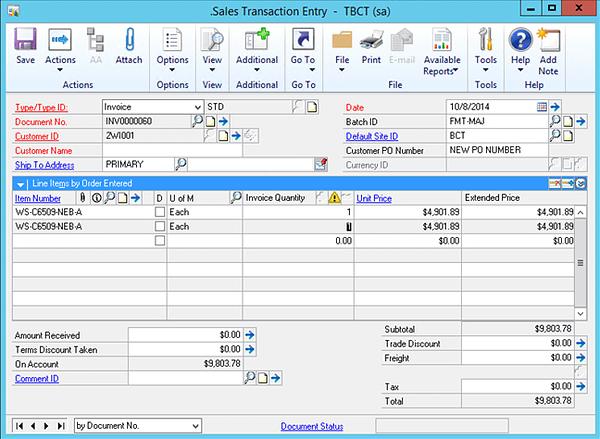 Dynamics GP Sales Transaction Entry