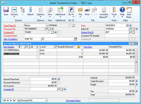 Dynamics GP Sales Transaction