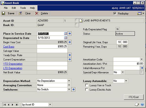 Microsoft Dynamics GP - GL Integrations to Fixed Asset - Asset Book II