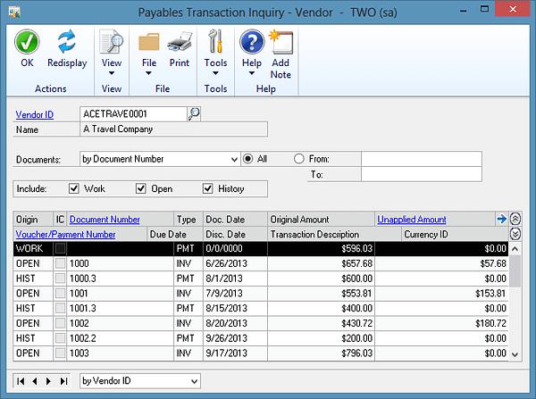 Dynamics GP - Inquiry Windows