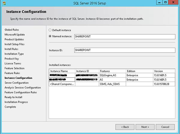 SQL Server 2016 Setup Instance Configuration