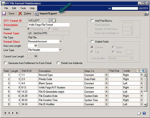 Dynamics GP EFT File Format Maintenance