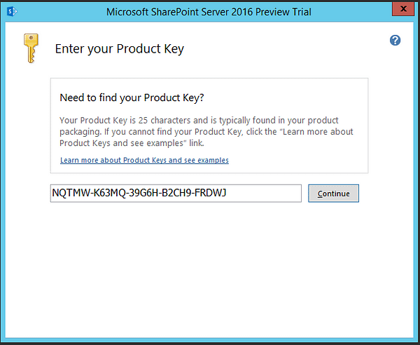 SharePoint 2016 Preview Product Key