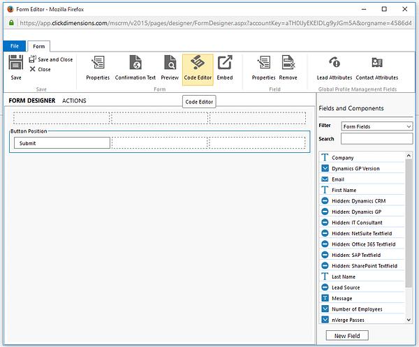 Dynamics CRM - ClickDimensions Form Designer