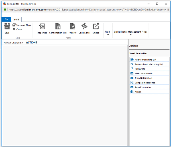 Dynamics CRM - ClickDimensions Action Designer