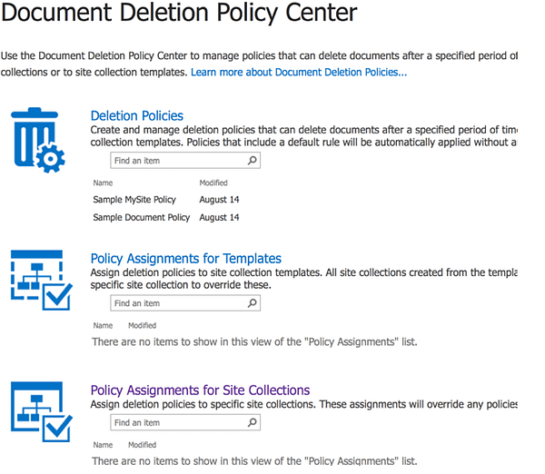 SharePoint Document Deletion Policy Center