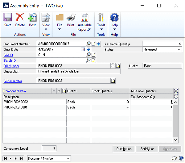 gp-assembly-entry, Microsoft, Microsoft Dynamics GP, Assembly, Manufacturing, Bill of Materials, Components, Finished goods, Accounting
