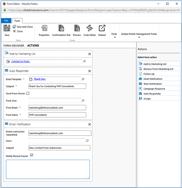 Dynamics CRM - ClickDimensions Action Designer Drag and Drop