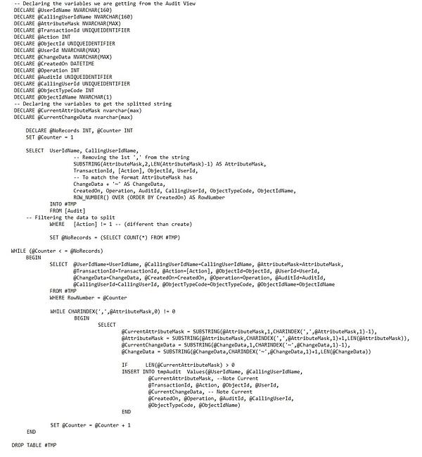 Split Audit View CRM SQL
