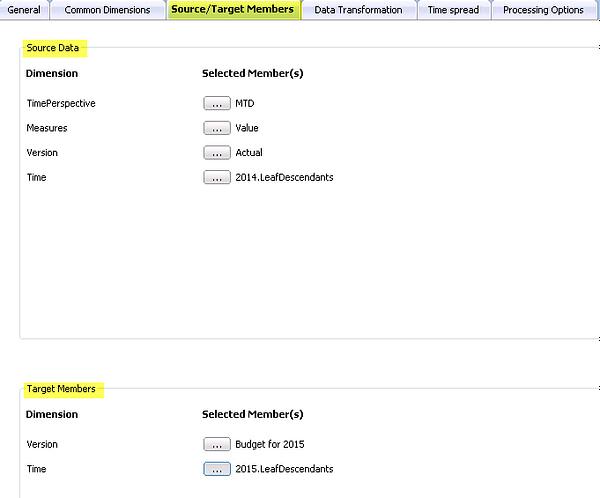 Prophix Source-Target Members