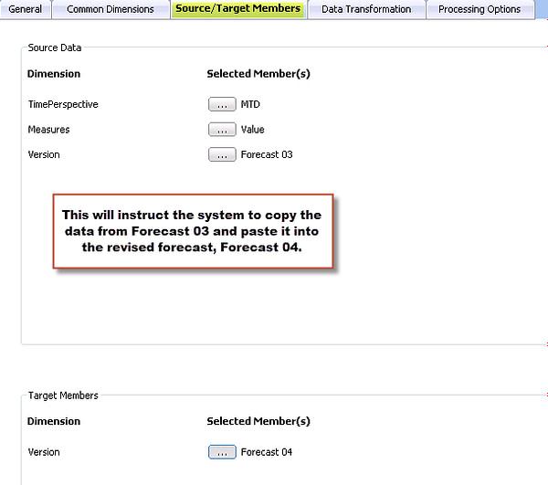 Source and Target Members in Prophix