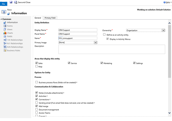 CRM Support Entity