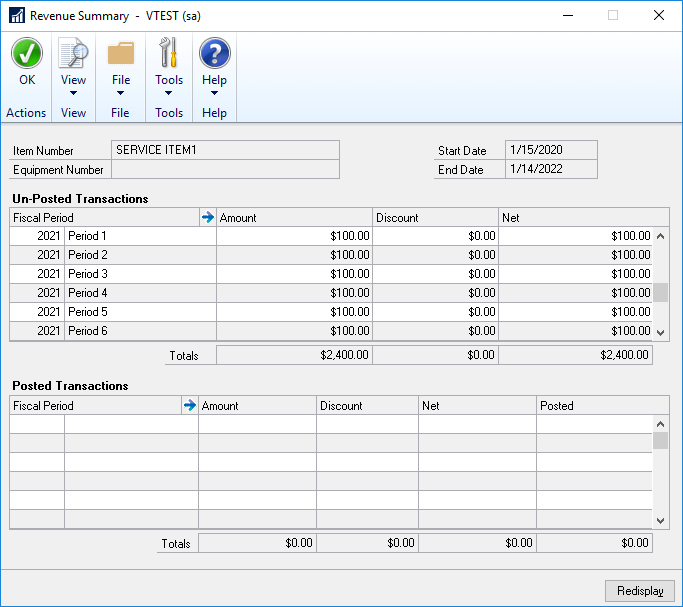 Screenshot of Contract Billing in Dynamics GP