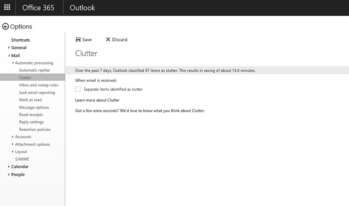 Clutter, Email, Outlook, Options, Settings, Turn Off, Deactivate, Office 365