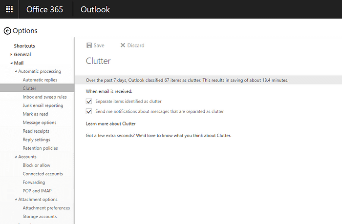 Clutter, Email, Outlook, Options, Settings, Turn On, Send Notifications, Office 365