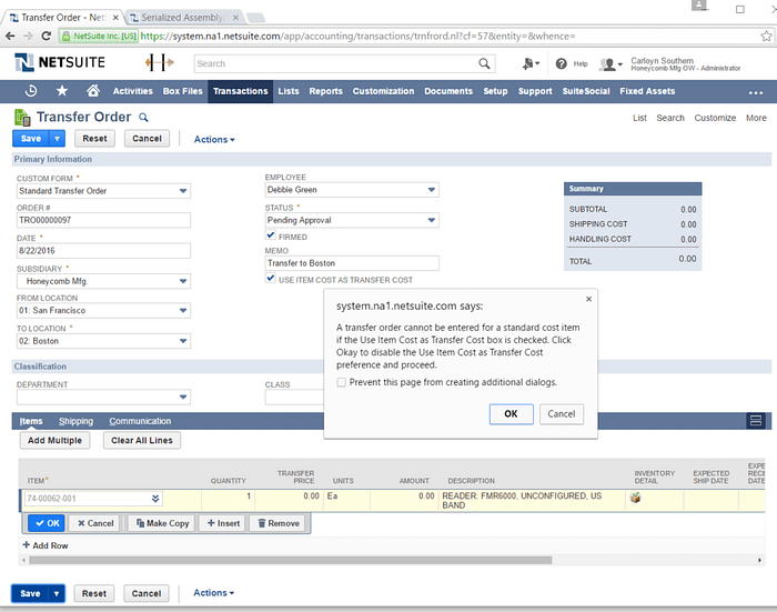 NetSuite, NetSuite 2016.2, Inventory Transfers, Transfer Order, Standard Cost Item, Item Cost, Transfer Cost