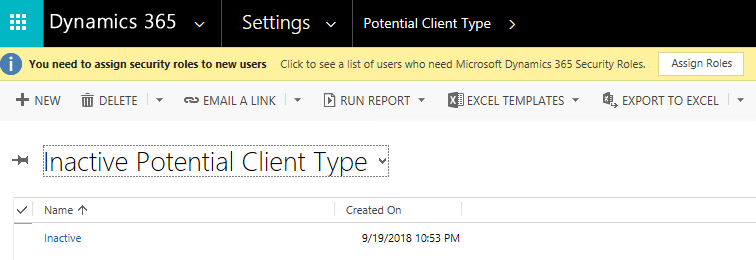 Dynamics 365 Potential Client Type