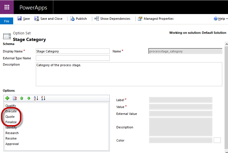 Dynamics 365 Power Apps Stage Category