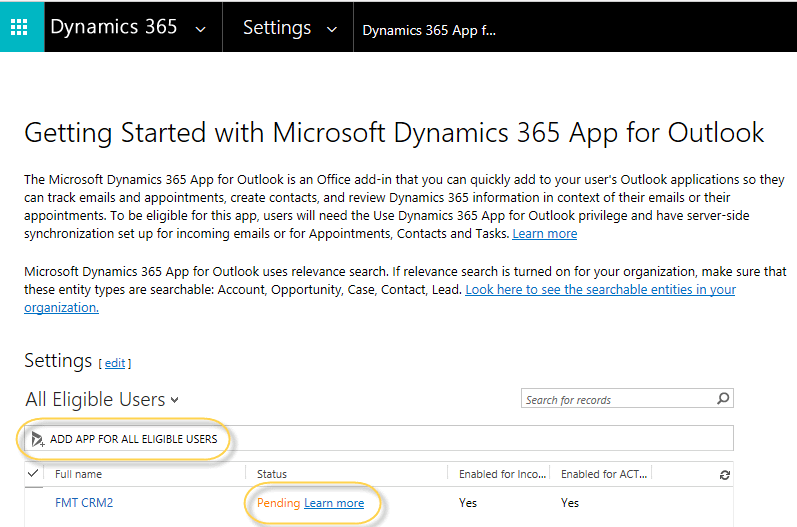 Adding the Outlook app from Dynamics 365
